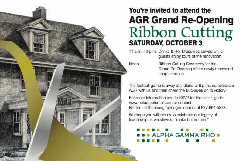 HURRY! Don't forget to RSVP to the Oct 3 Grand Re-opening of the AGR House